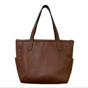 Fossil Mimi Shopper Tote Medium Brown Leather